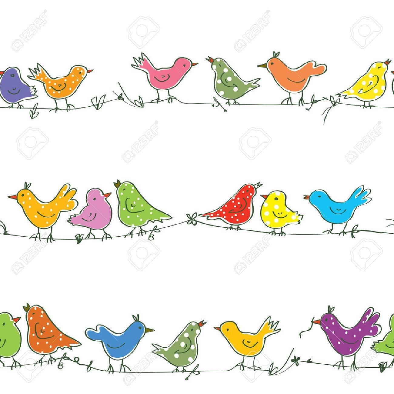 Funny birds seamless pattern - bright vector illustration - 52592831
