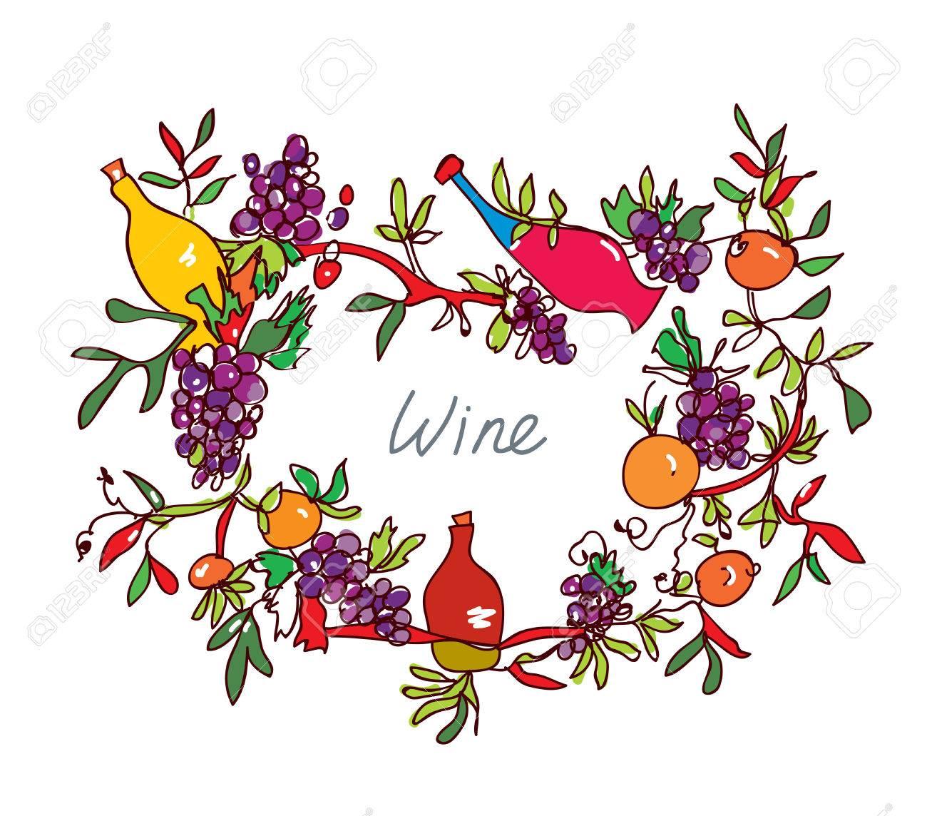 Ornamental bottles - Frame For Wine With Leaves And Bottles Ornamental Vector Illustration Stock Vector 53440661