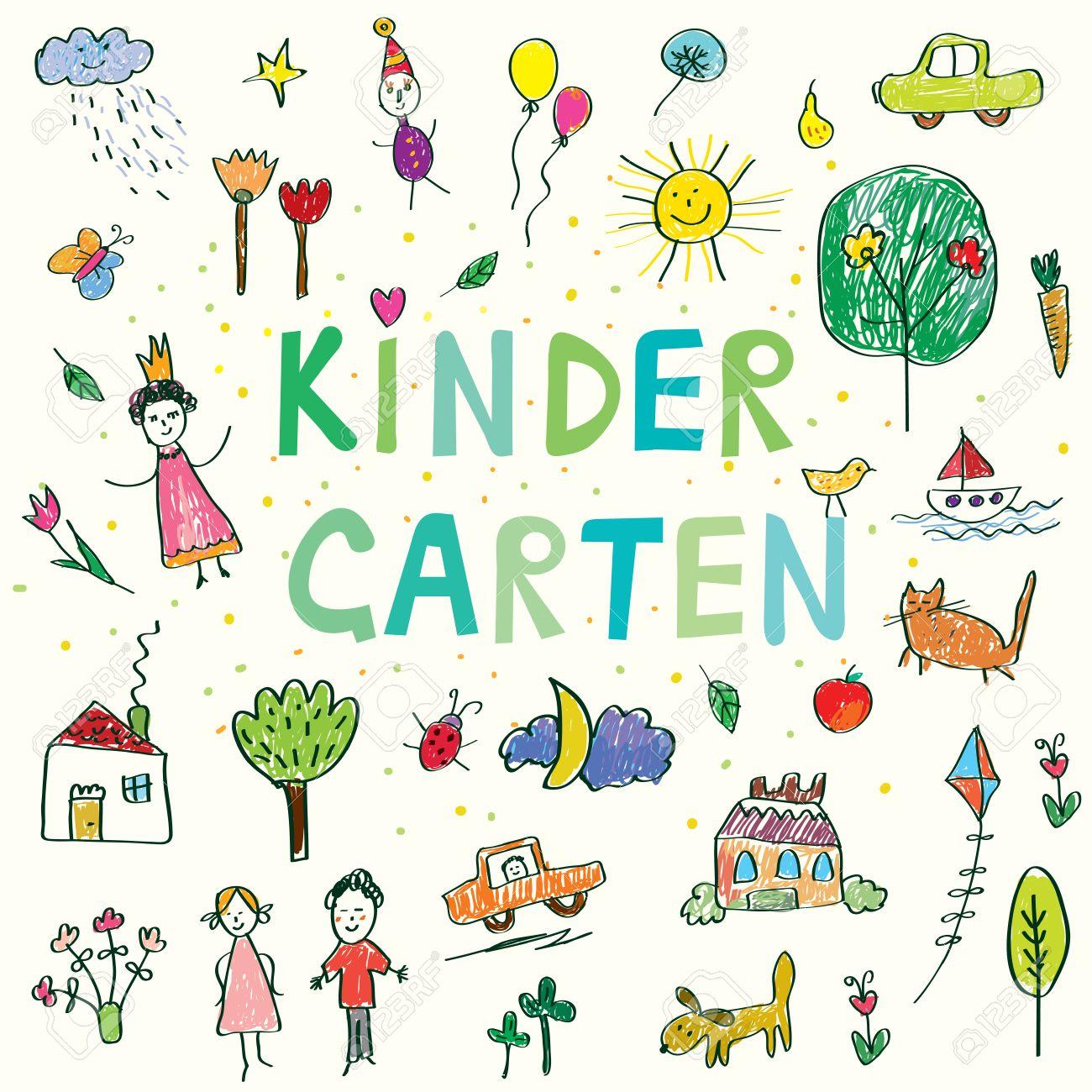 Kindergarten banner with funny kids drawing - vector design - 53893414