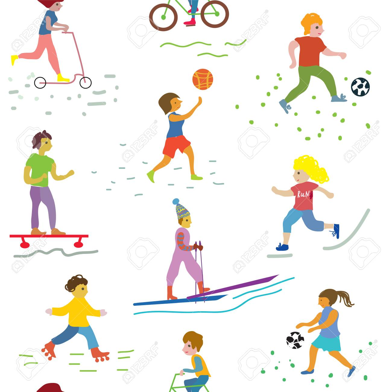 Les Gens Et Le Sport Pattern Conception Drole Clip Art Libres De Droits Vecteurs Et Illustration Image 54568764