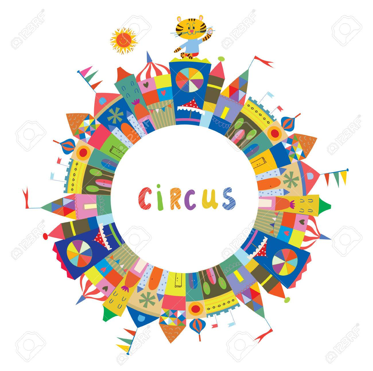 Circus Frame For The Card Or Banner, Funny Design, Vector ...