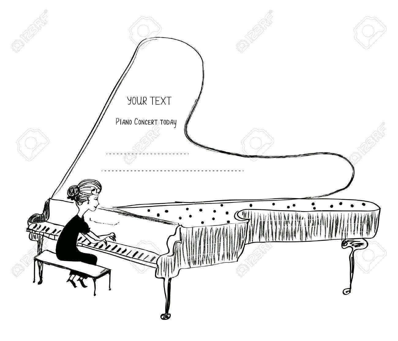 Girl playing piano sketch - background for a musical concert, vector illustration - 60908202