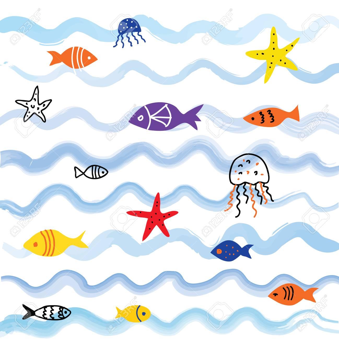 かわいいデザインベクトル グラフィック イラストと海と魚の背景の