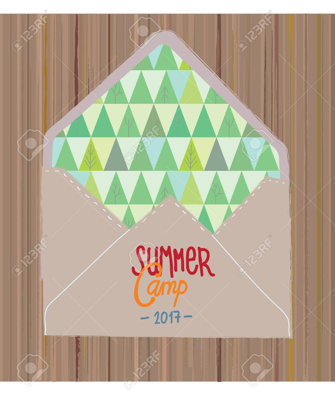 Summer camp invitation with woods and envelope vector graphic summer camp invitation with woods and envelope vector graphic illustration stock vector 71027723 stopboris Choice Image