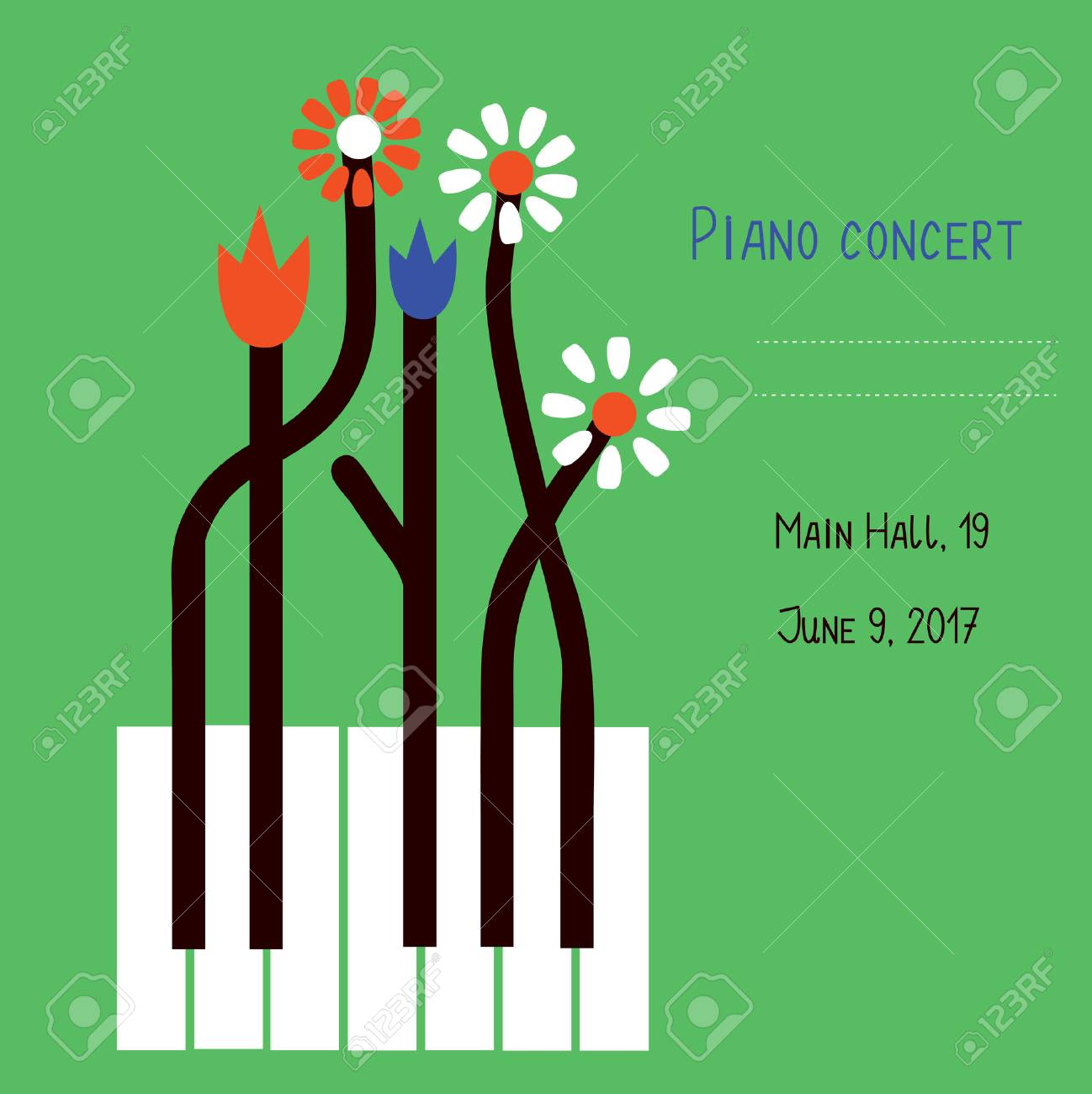 Piano concert design of banner with keys and flowers - vector graphic illustration - 72918692