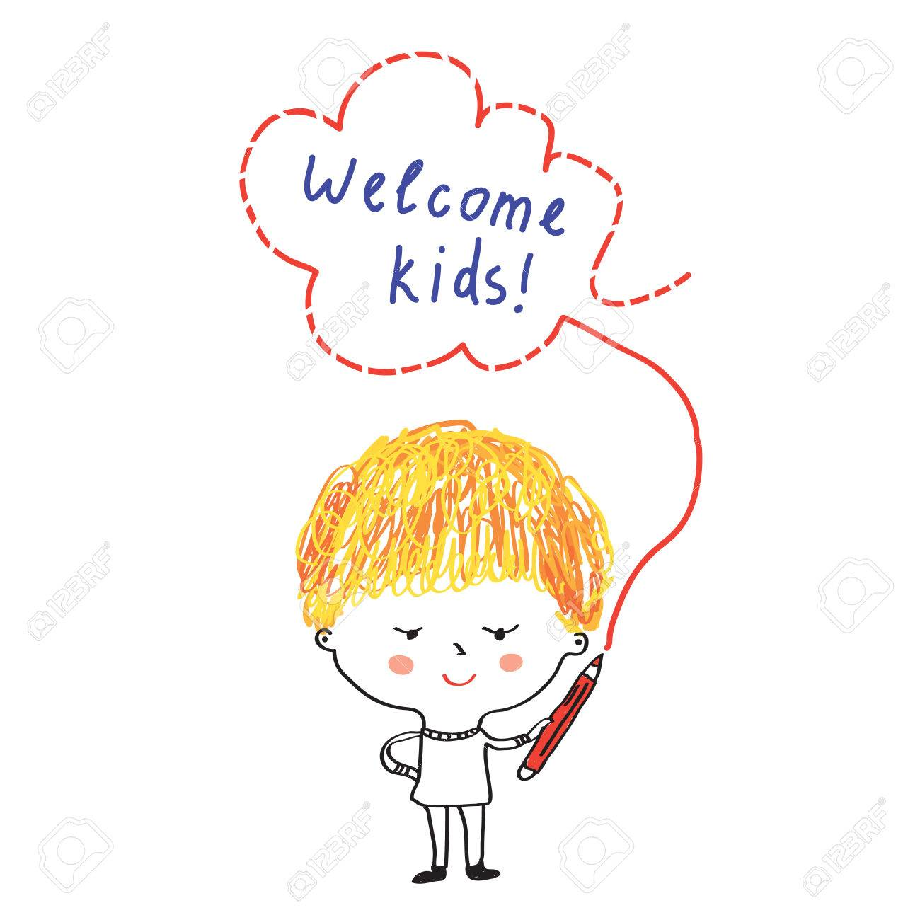 Niño Con Lápiz Y Banner De Bienvenida Para La Escuela O Jardín De ...