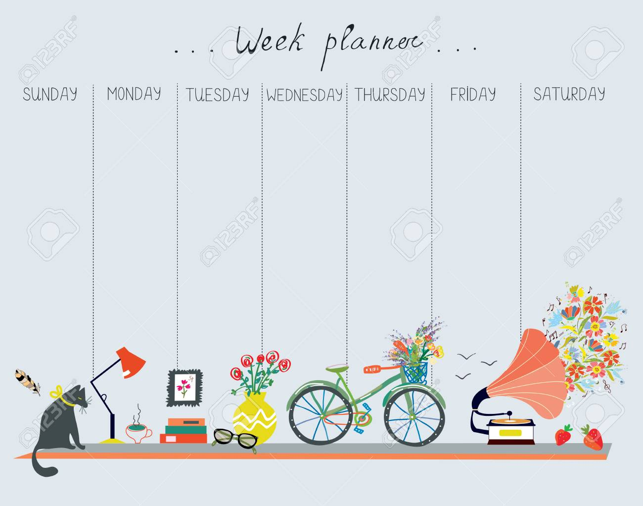 Weekly planner with cute design - home objects, cat, bicycle, flowers, music. Vector graphic illustration - 78263101