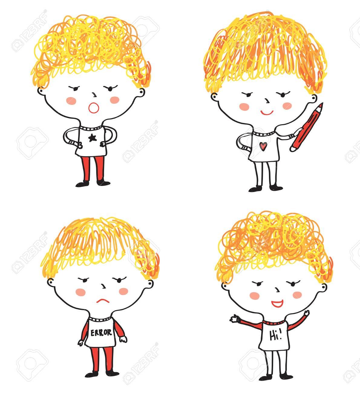 Dibujos Animados De Niños Con Expresiones De Caras Diferentes Ilustración Gráfica De Vector