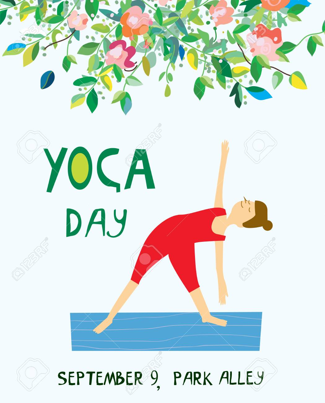 Yoga Day Banner With Girl And Flowers Nice Design Vector Graphic Royalty Free Cliparts Vectors And Stock Illustration Image 85365229