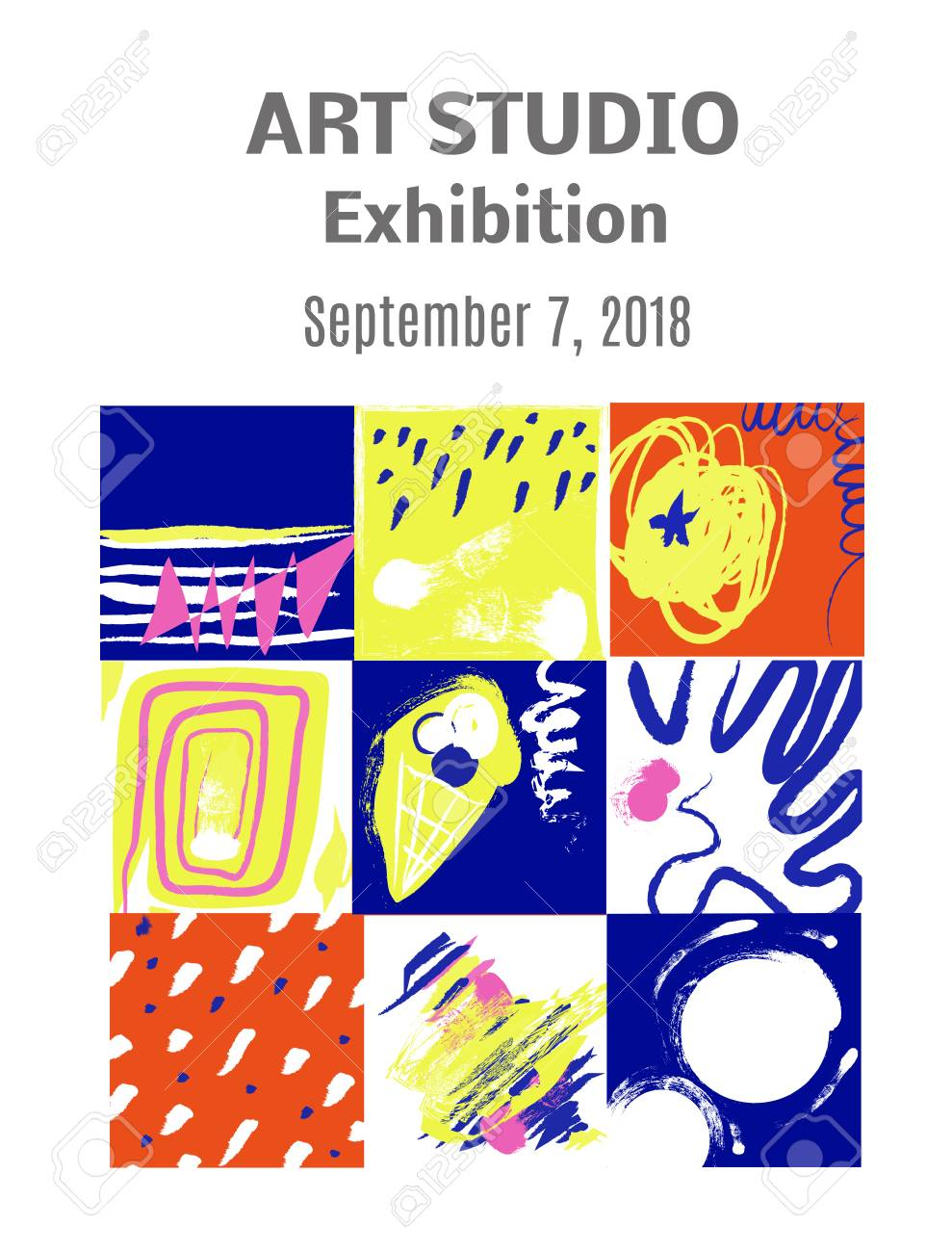 Modern Art Paintings Exhibition Invitation Design With Pictures