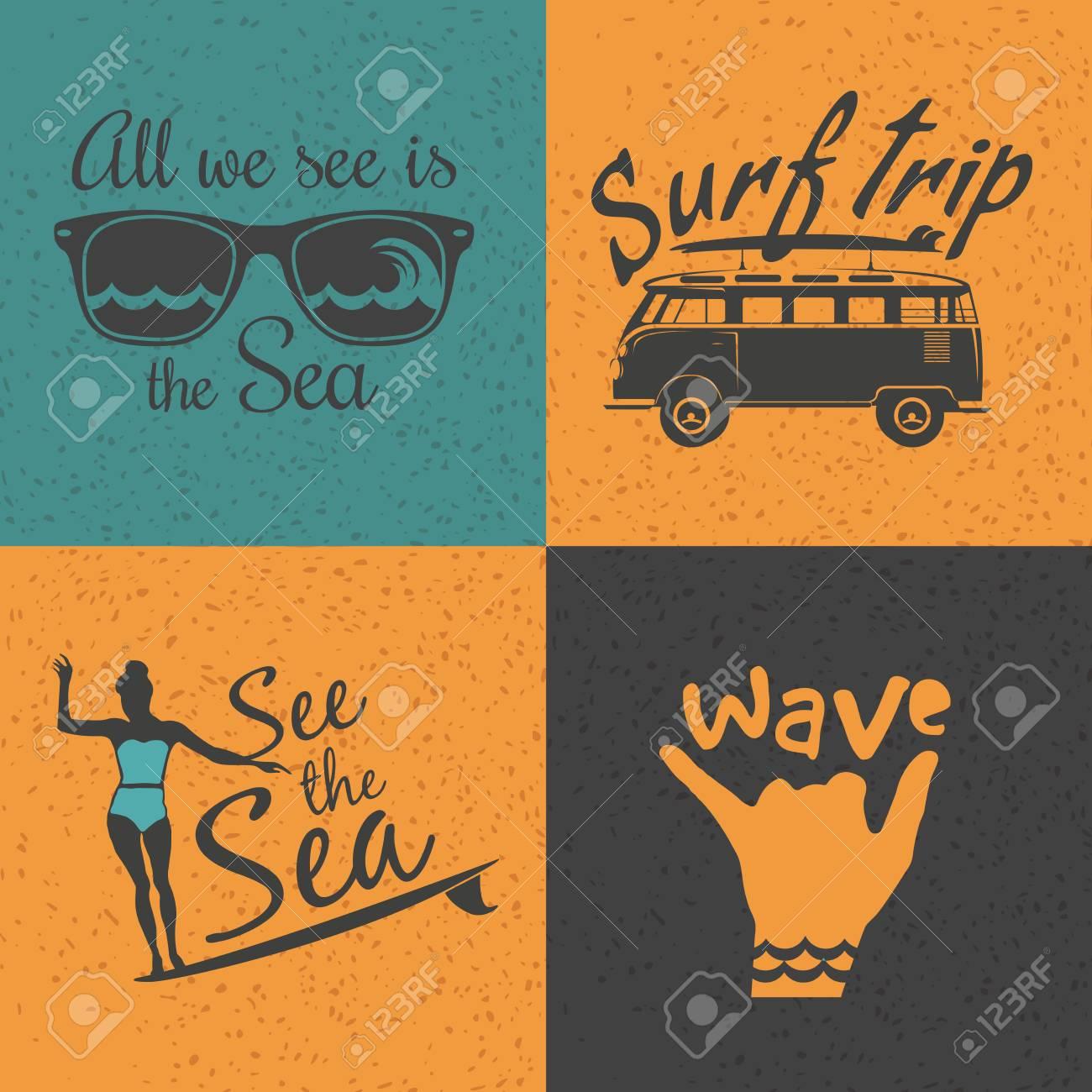Set Of 4 Vintage Surfing Logos Labels Badges And Design Elements T