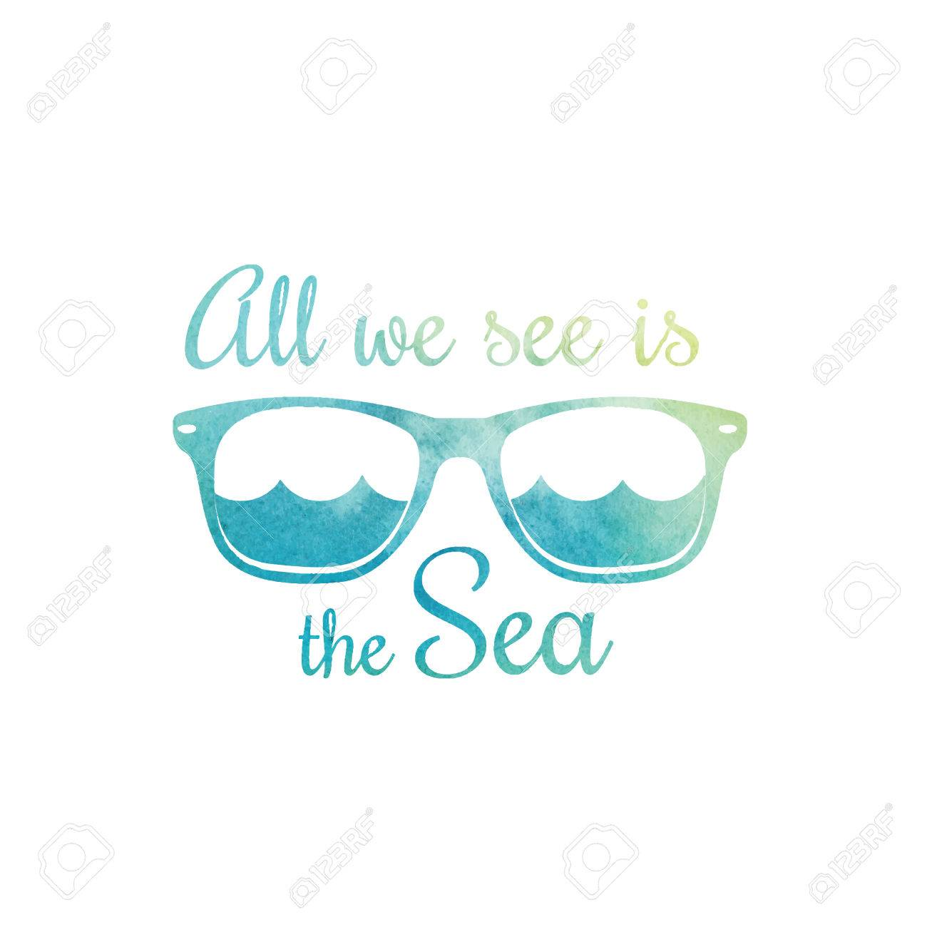 e0c8a23c8a46 Vector - Watercolor sunglasses. Watercolor sea waves. Surf t shirt design.  Surfing t-shirt graphics