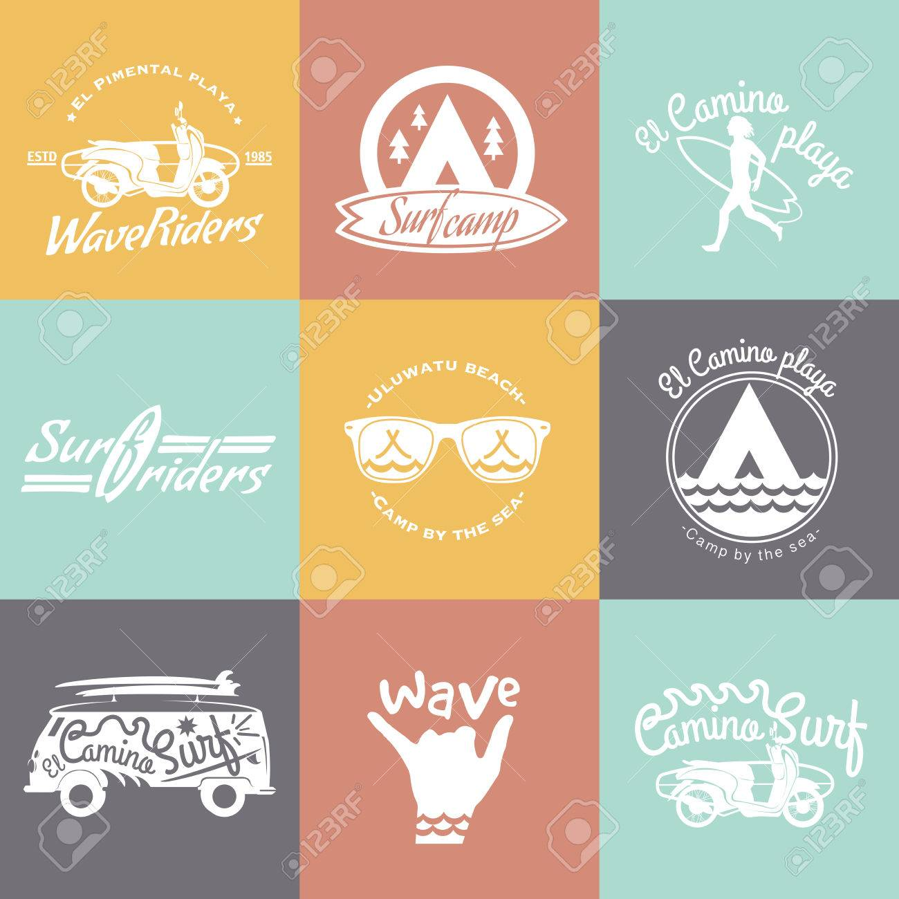 set of surf logo and emblem surf summer t shirt design surfing