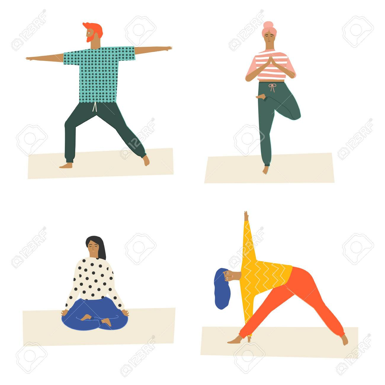 People Doing Yoga And Meditation Poster Class Illustration In Vector Poses