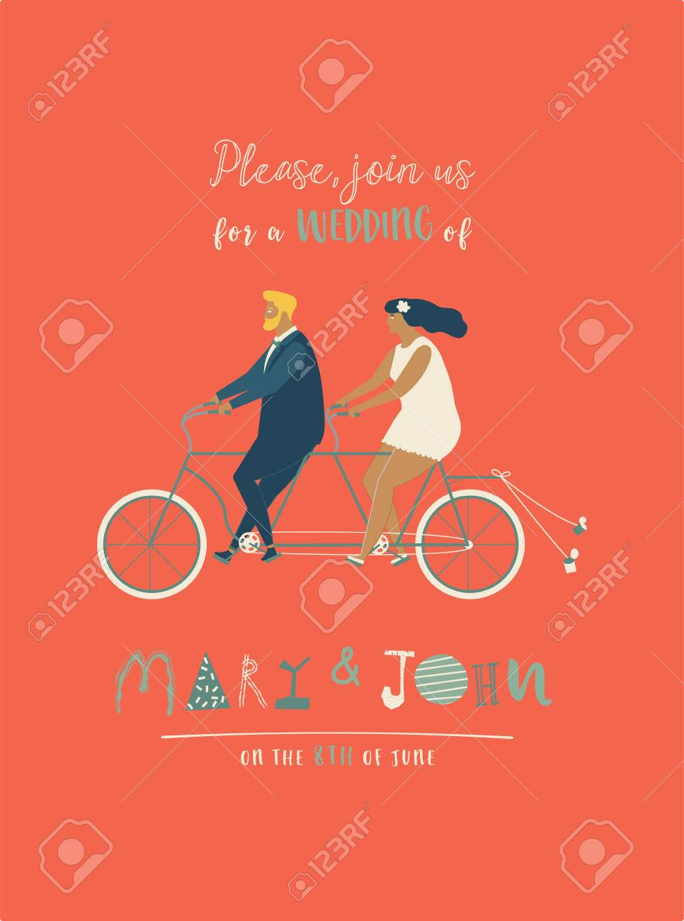Wedding Invitation With Groom And Bride Riding Tandem Bicycle. Cute ...