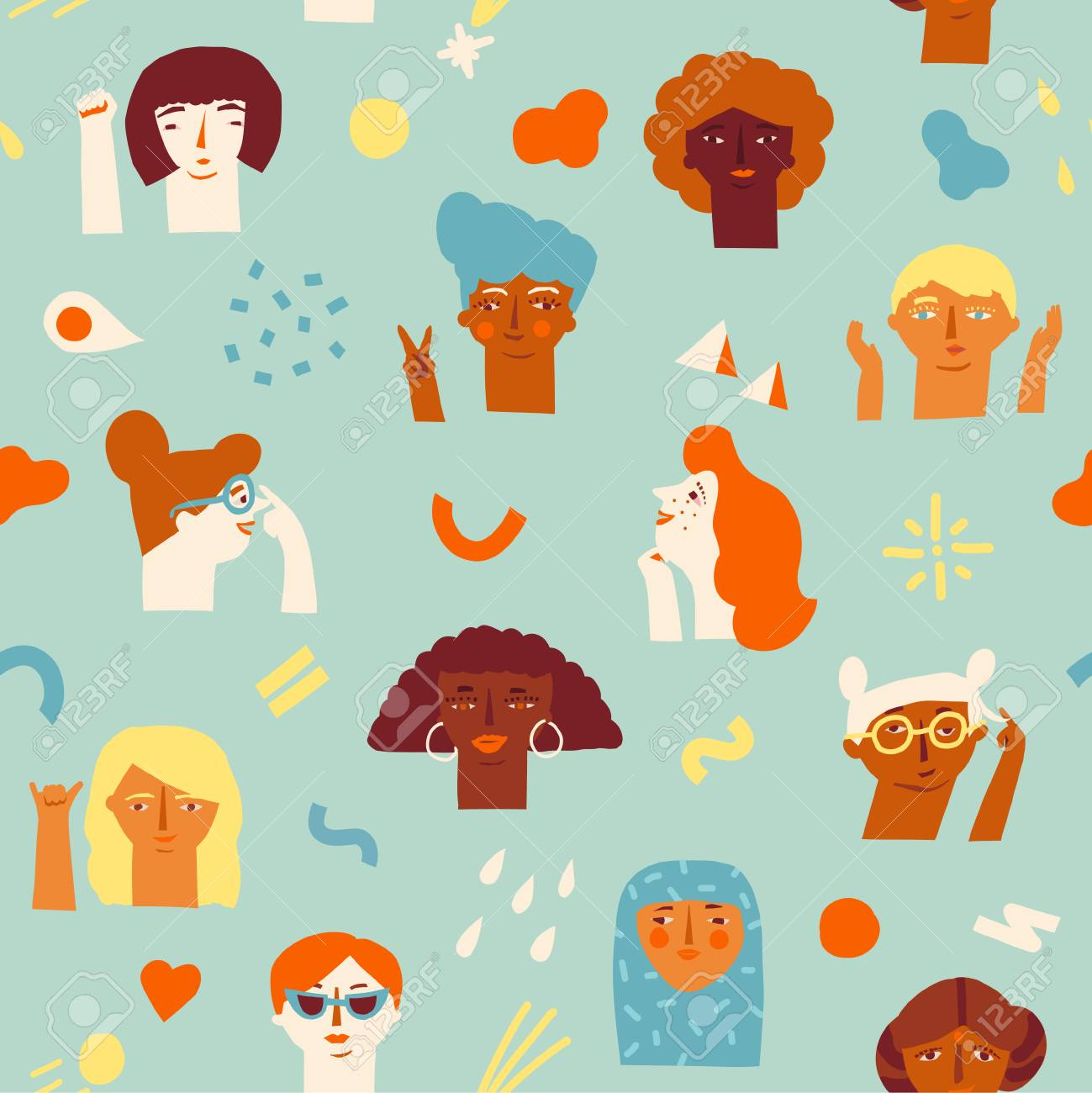 A woman empowerment ideas seamless pattern icon isolated on plain background. - 96850455