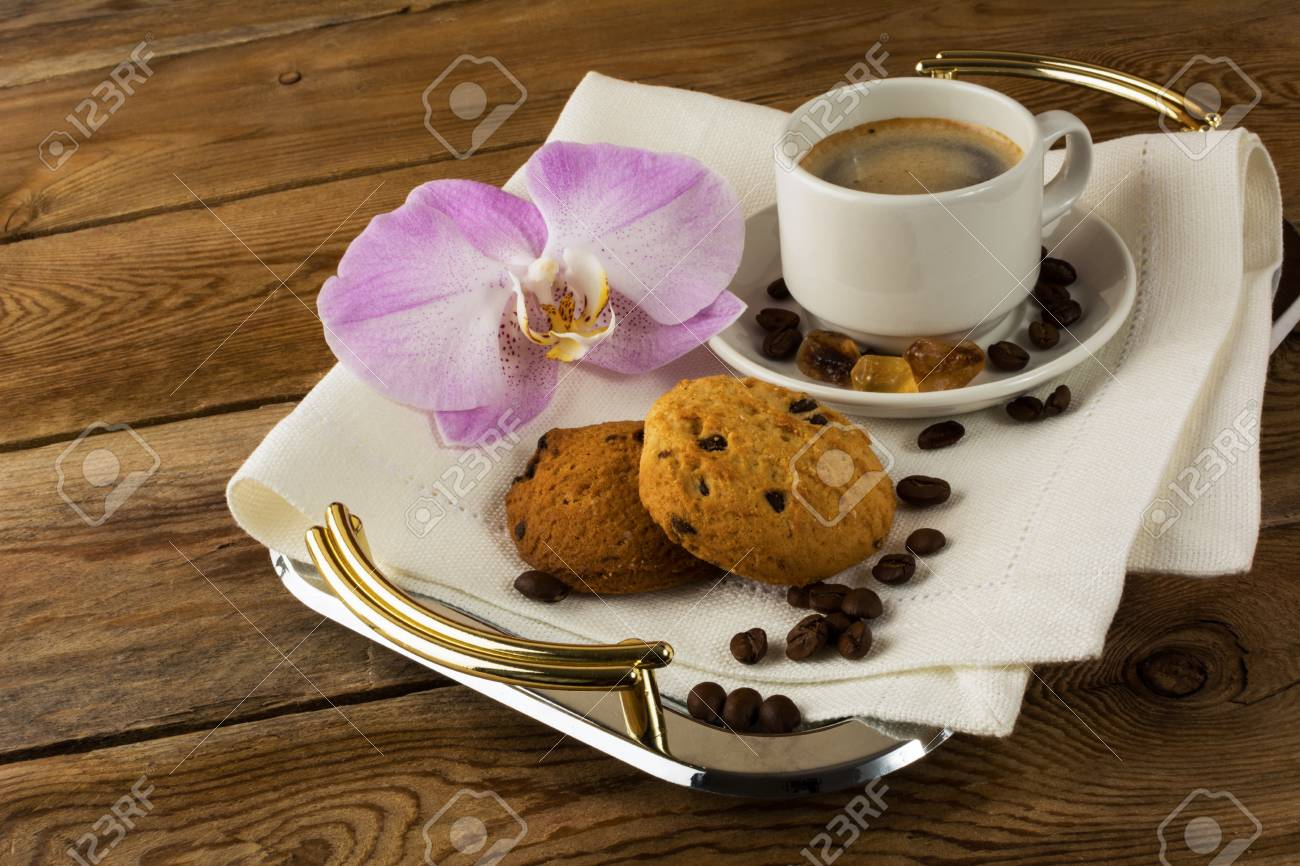 Coffee Served With Orchid On The Serving Tray Coffee Cup Cup Stock Photo Picture And Royalty Free Image Image 57963209