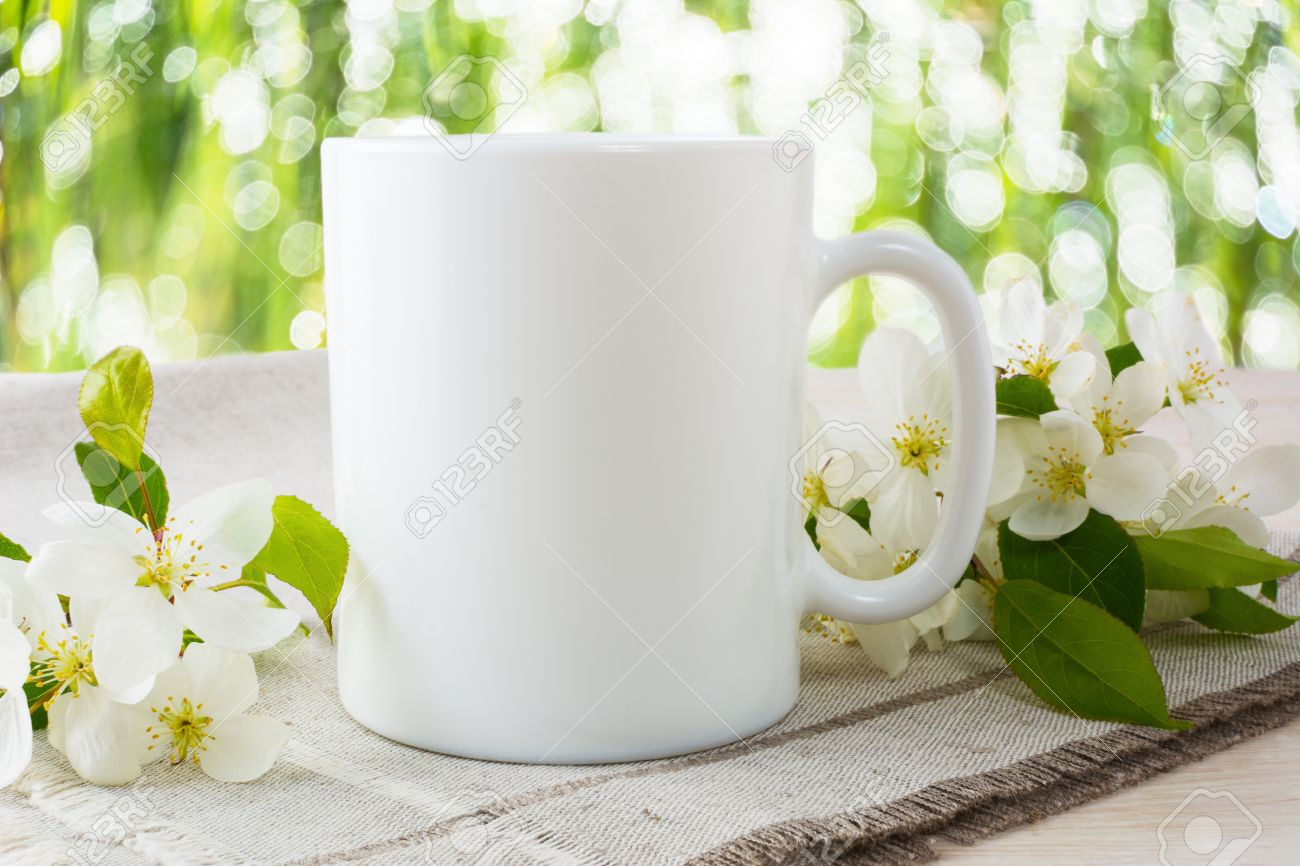 Mug Mockup With Apple Blossom Coffee Cup Template