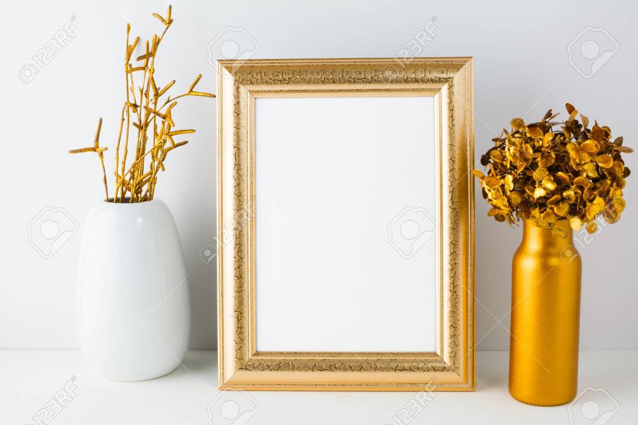 18056c8ef57e Frame mockup with golden decor. Frame mockup. Poster Mockup. Styled mockup.  Portrait