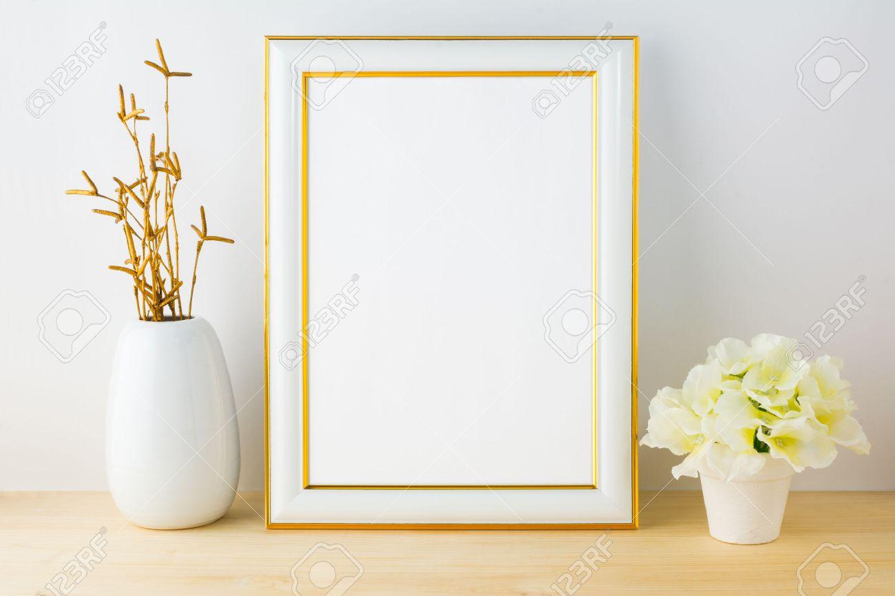 Frame Mockup With White Flowerpot. Frame Mockup. Poster Mockup ...