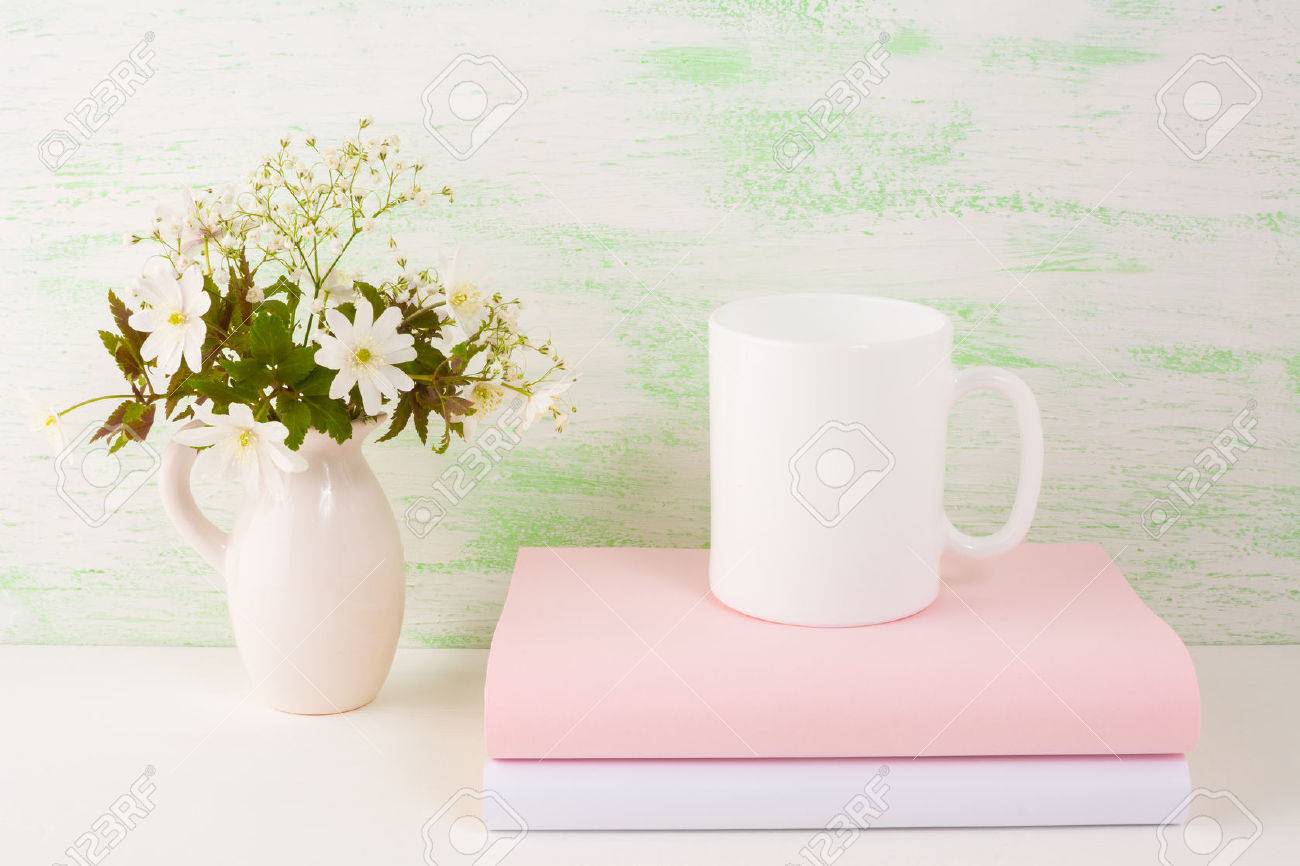 Mug Mockup With Fresh Flowers. Mug Mockup. Coffee Cup Template ...