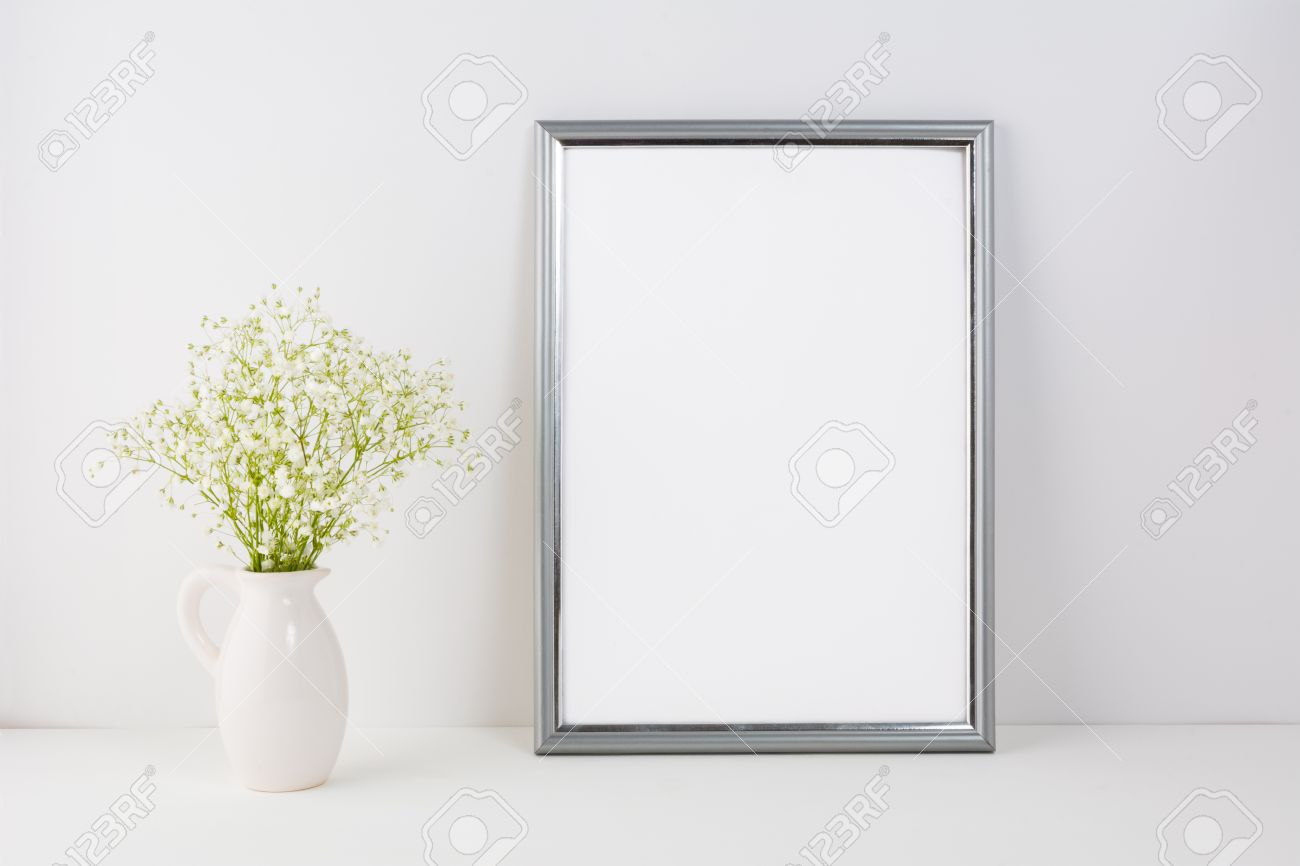 166ed033552a Frame mockup with white tender flowers. Frame mockup. Poster Mockup. Styled  mockup.