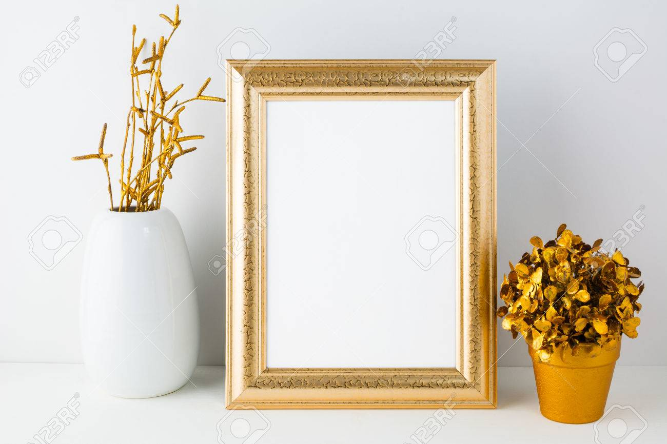 Gold fame mockup with white vase and golden flowerpot empty gold fame mockup with white vase and golden flowerpot empty gold frame mockup for design reviewsmspy