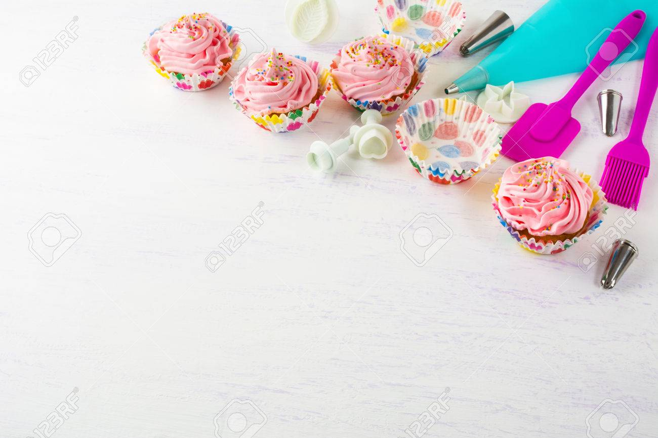 Pink cupcakes and cookware invitation background birthday cupcakes pink cupcakes and cookware invitation background birthday cupcakes birthday background homemade cupcake stopboris Images