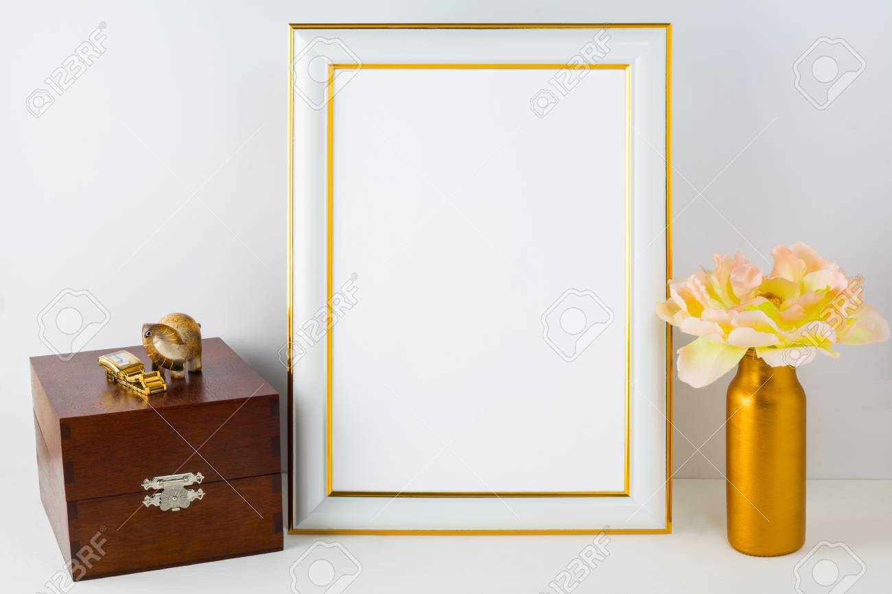 a6962e56614b Frame mockup with wooden box. Portrait white frame mockup. Empty white frame  mockup for