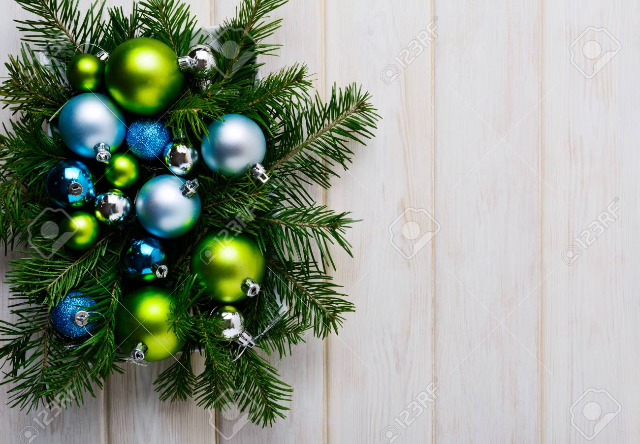 Christmas Background With Green Blue And Silver Ornaments Party Decoration Greeting