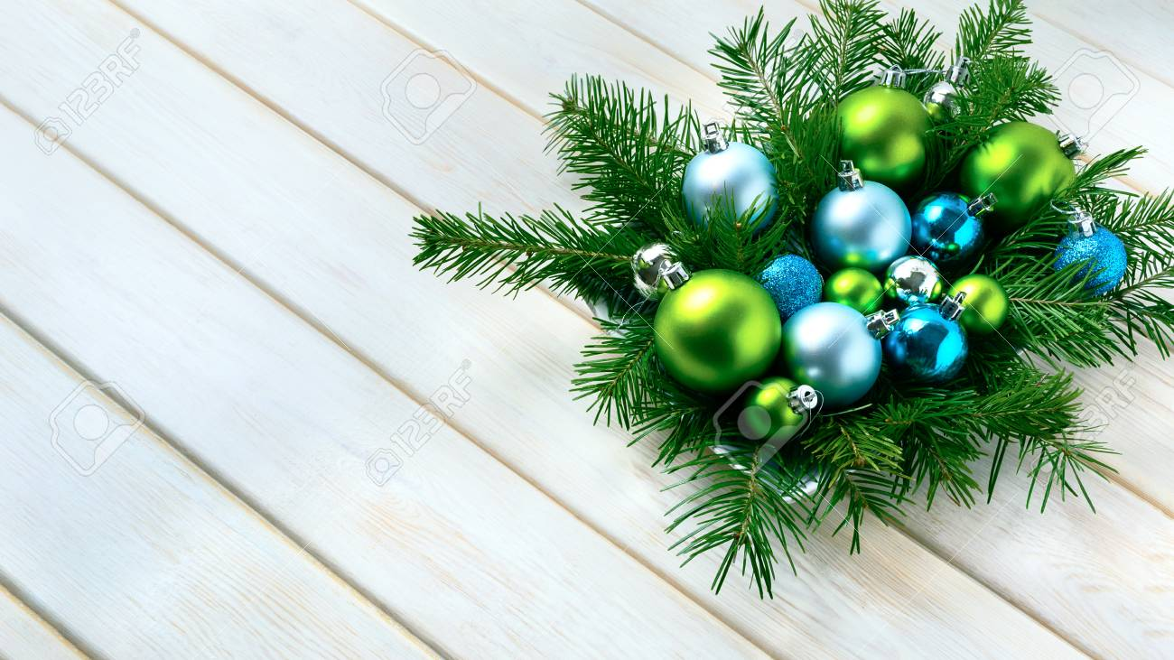Christmas Dinner Table Centerpiece With Blue Glitter Ornaments Party Decoration Shiny Balls