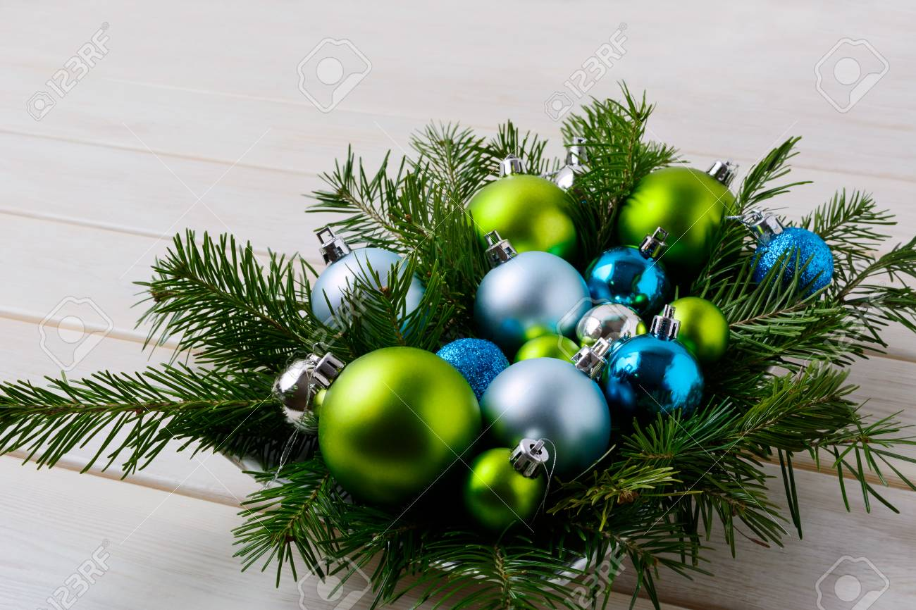 Christmas Table Centerpiece With Silver Blue And Green Ornaments Party Decoration Shiny