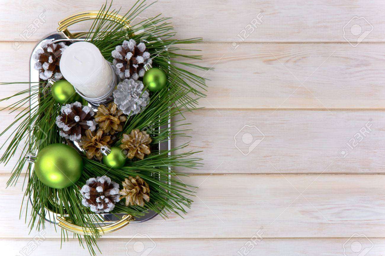Christmas Background With Snowy Pinecone Decorated Centerpiece Party Decoration Green Ornaments Copy