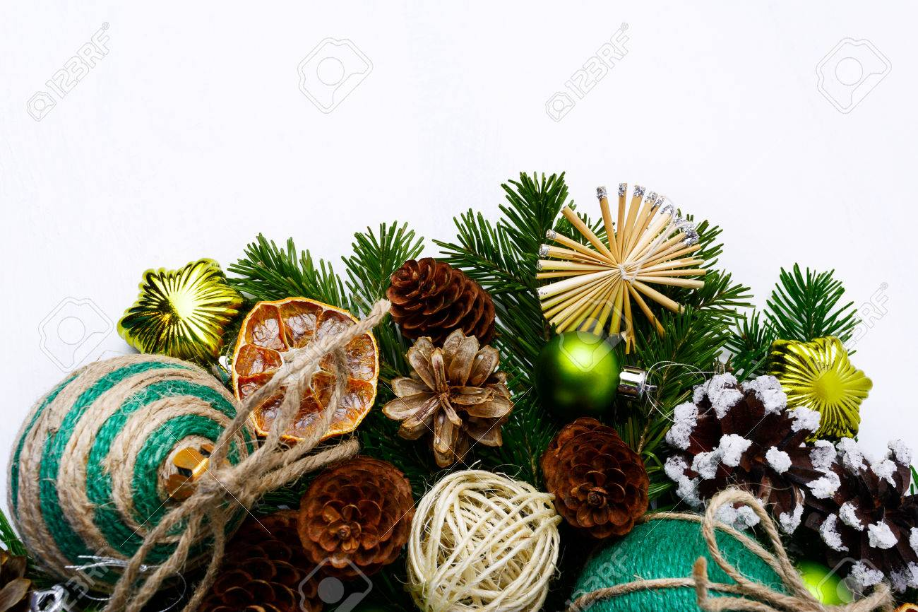 Christmas Tree Branches With Handmade Ornaments And Pine Cones Stock Photo Picture And Royalty Free Image Image 67353184