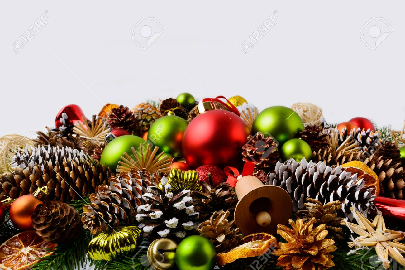 stock photo traditional christmas ornaments fir branches and pine cones christmas decoration with baubles and dried orange slices