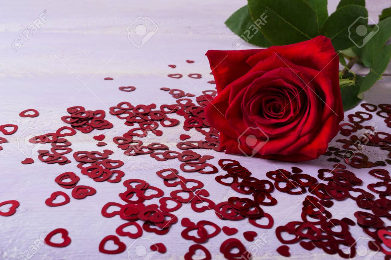 St valentines day greeting card with dark red rose and glitter st valentines day greeting card with dark red rose and glitter hearts elegant wedding m4hsunfo