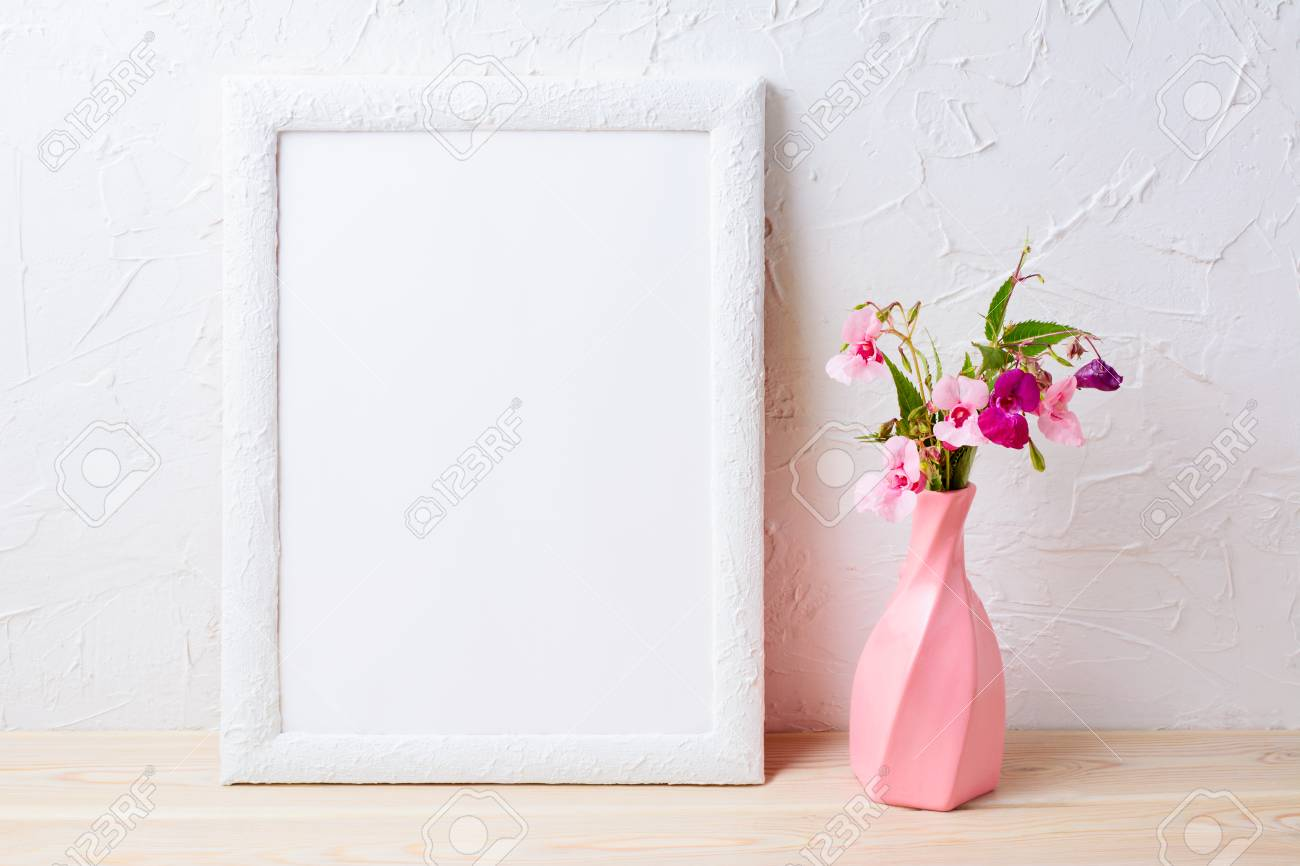 White Frame Mockup With Flowers In Swirled Pink Vase. Empty Frame ...