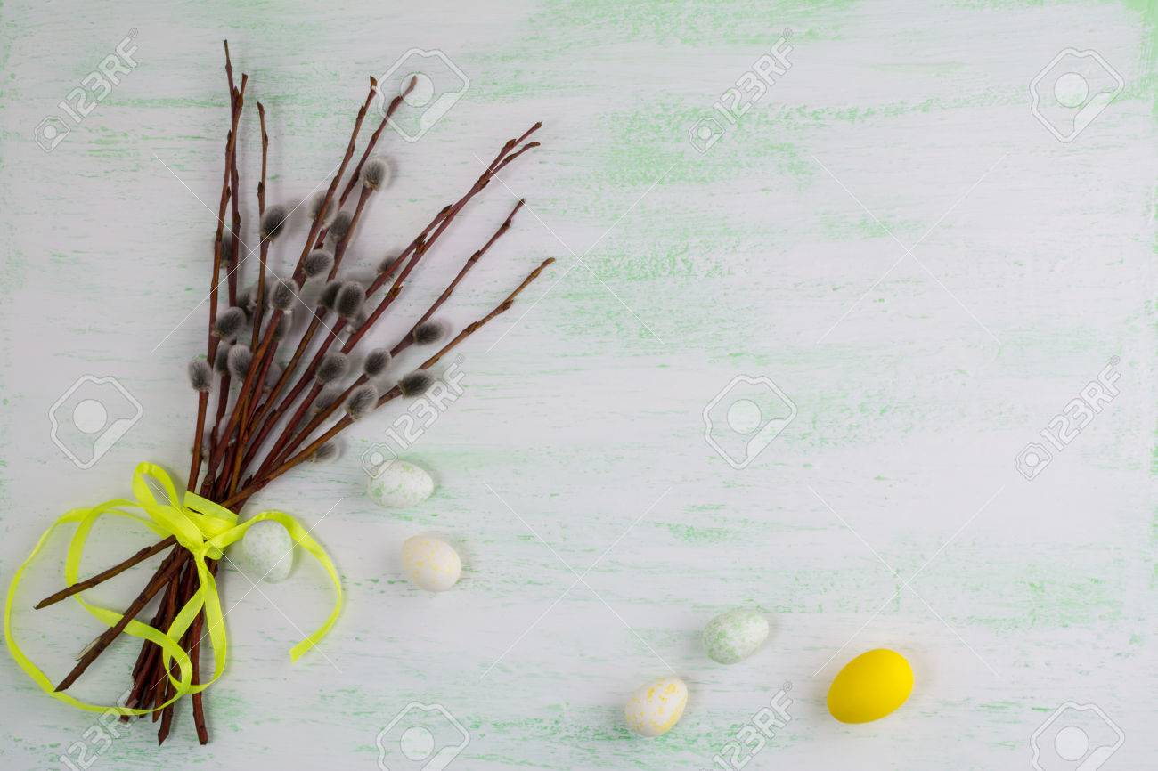 Happy easter greeting card or invitation with easter eggs and happy easter greeting card or invitation with easter eggs and flowering willow tree branch copy m4hsunfo