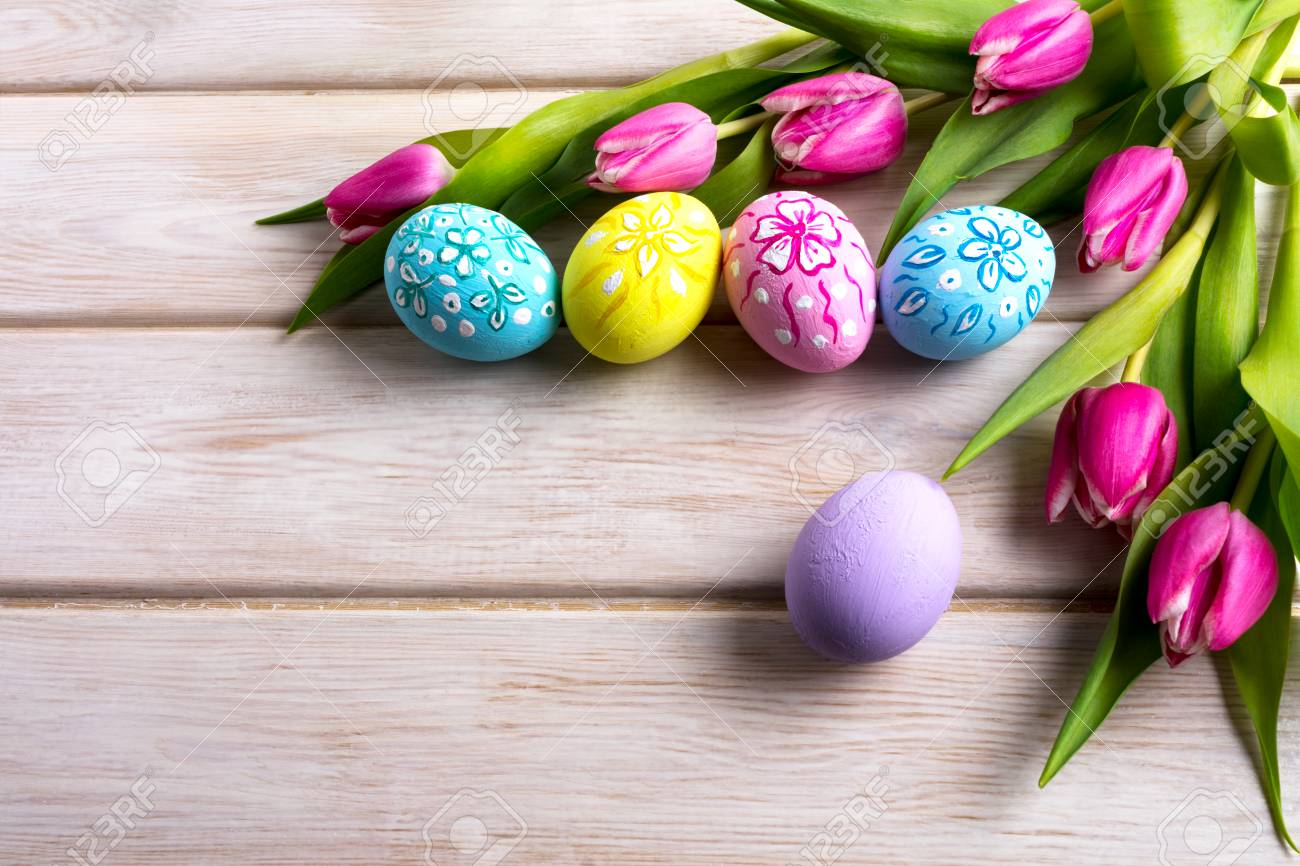 Easter Hand Painted Floral Decorated Eggs With Pink Tulip Flowers