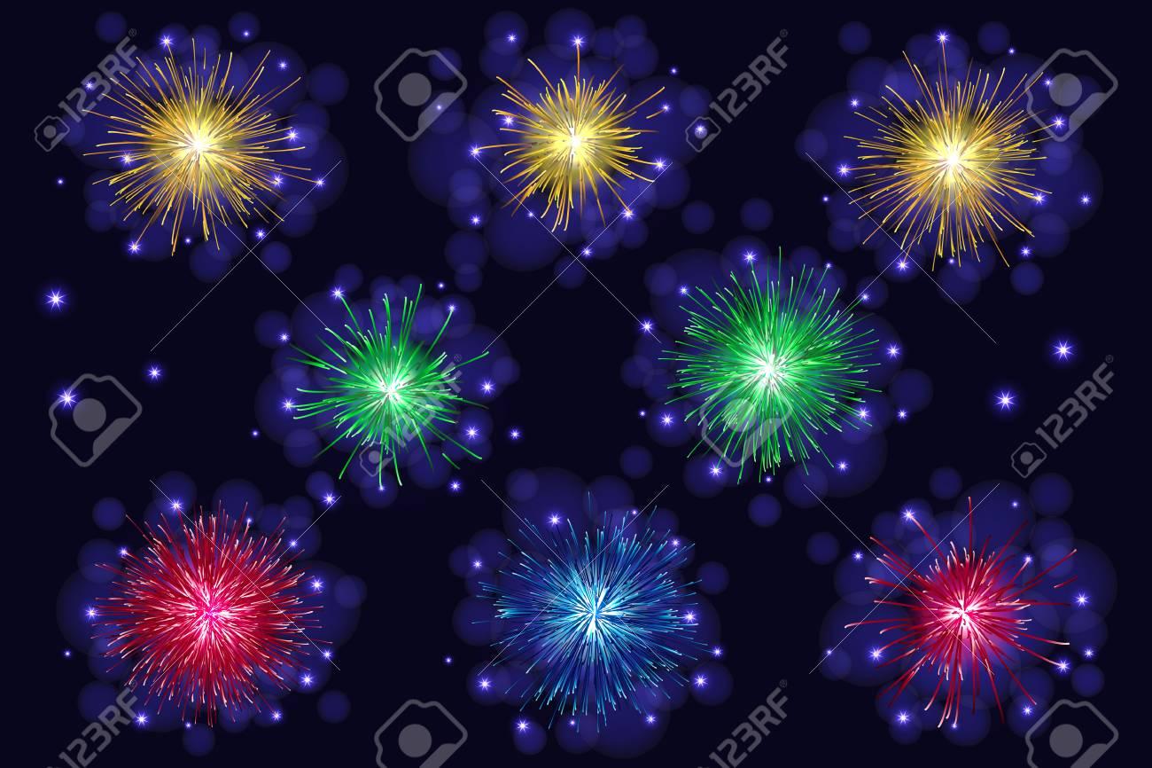 Conjunto De Fuegos Artificiales Vector Chispeante Multicolor