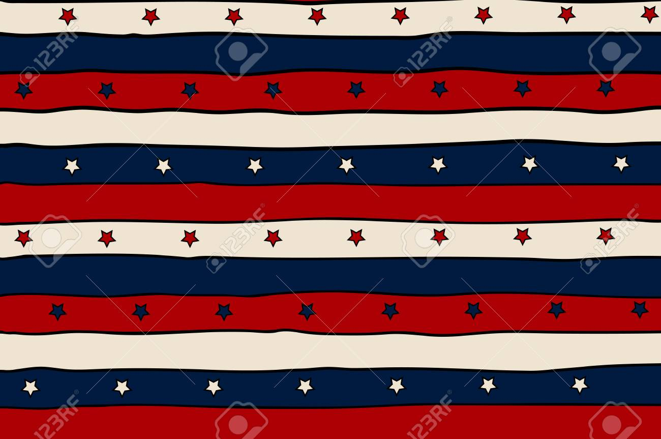 vintage patriotic background with red lines and stars for greeting