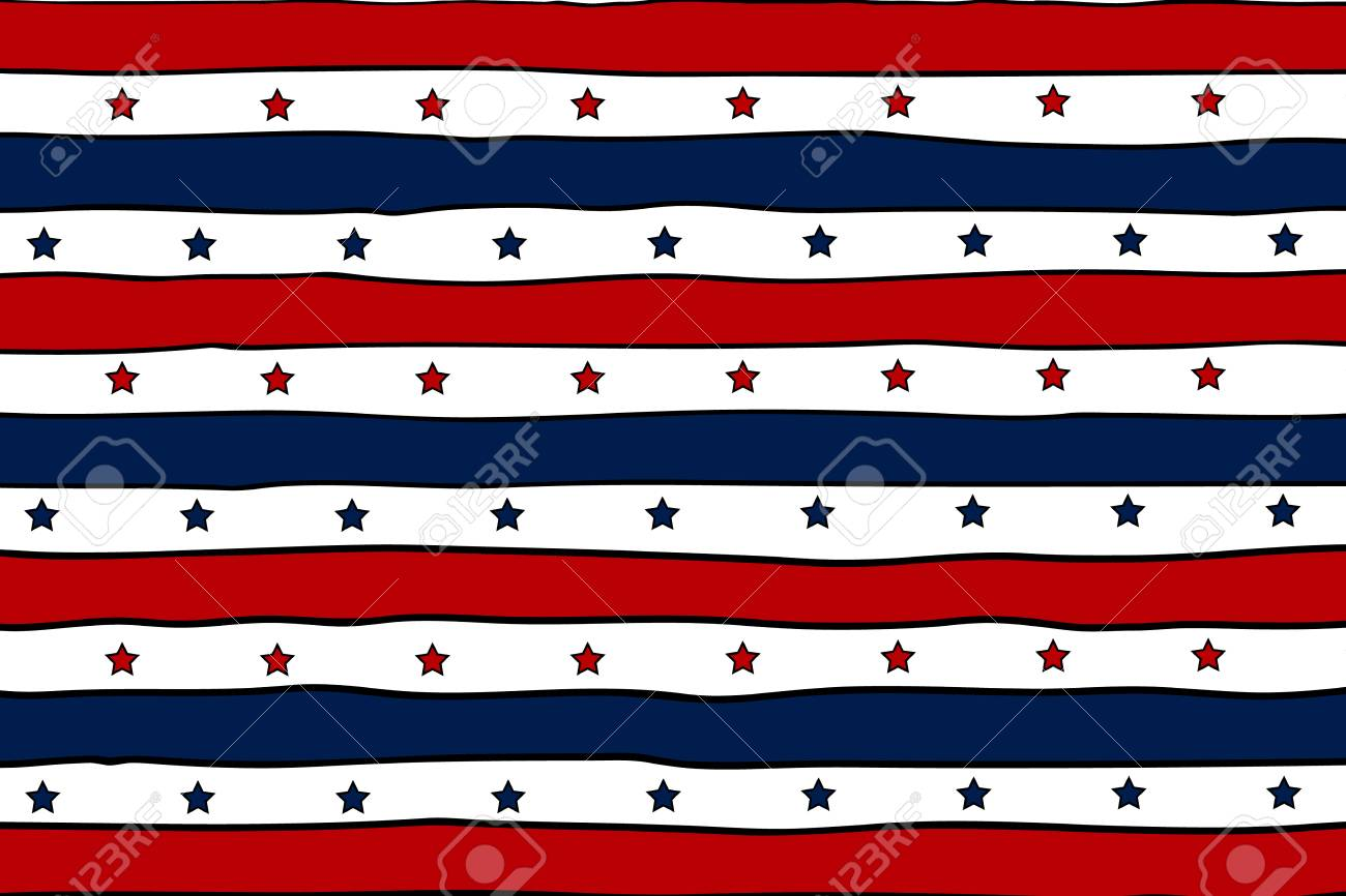 abstract patriotic background with red lines and blue stars for