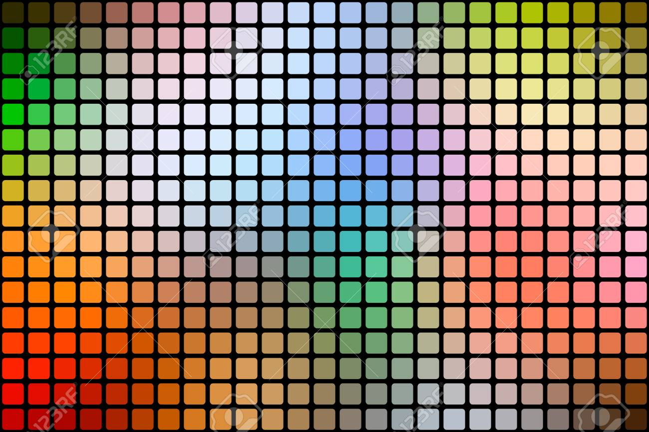 Rainbow Colors Abstract Mosaic Background With Rounded Corners