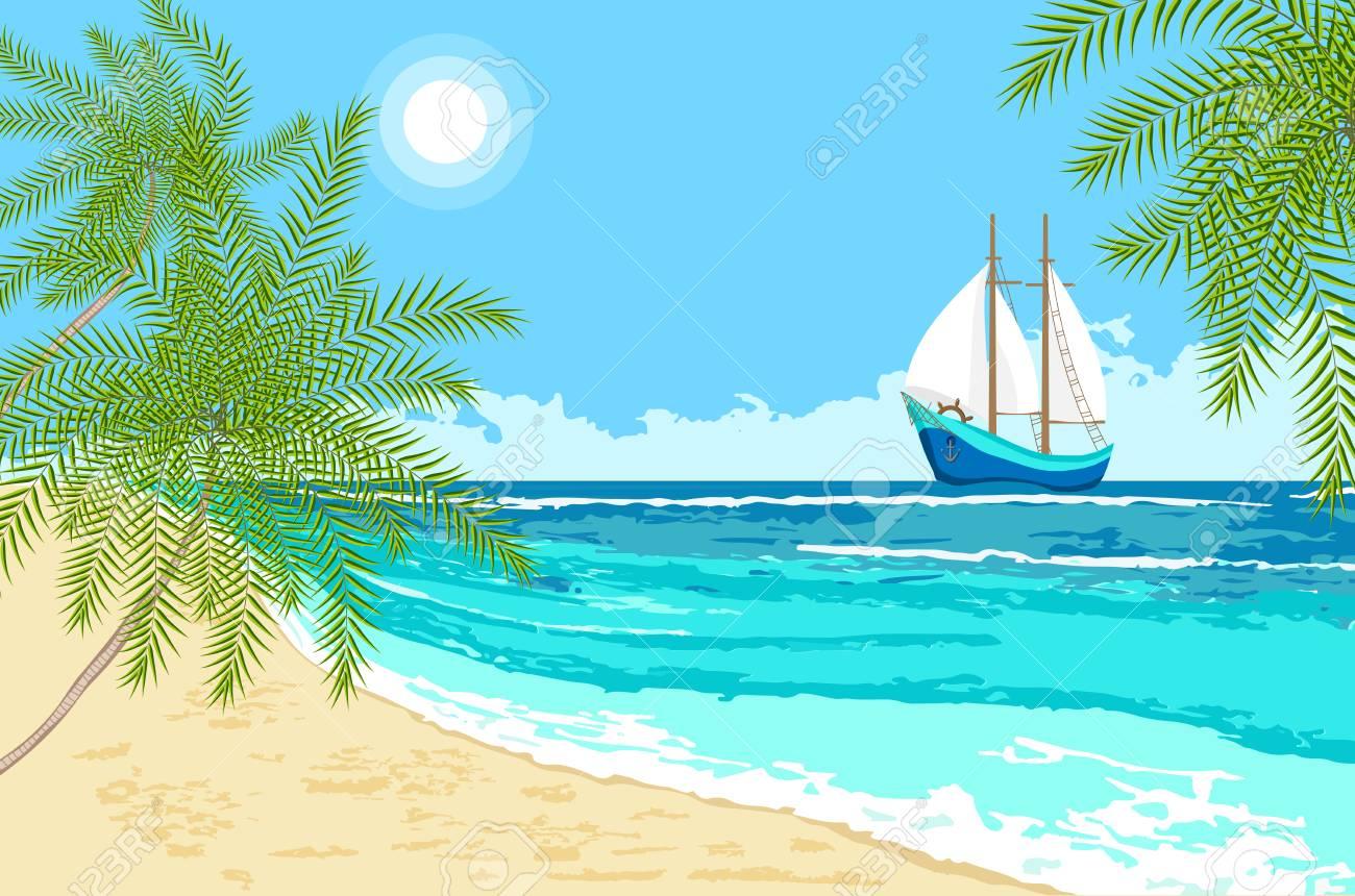 Vue Sur La Mer Avec Des Voiles De Dessin Anime Et Des Palmiers Fond De Bord De Mer Clip Art Libres De Droits Vecteurs Et Illustration Image 80765383