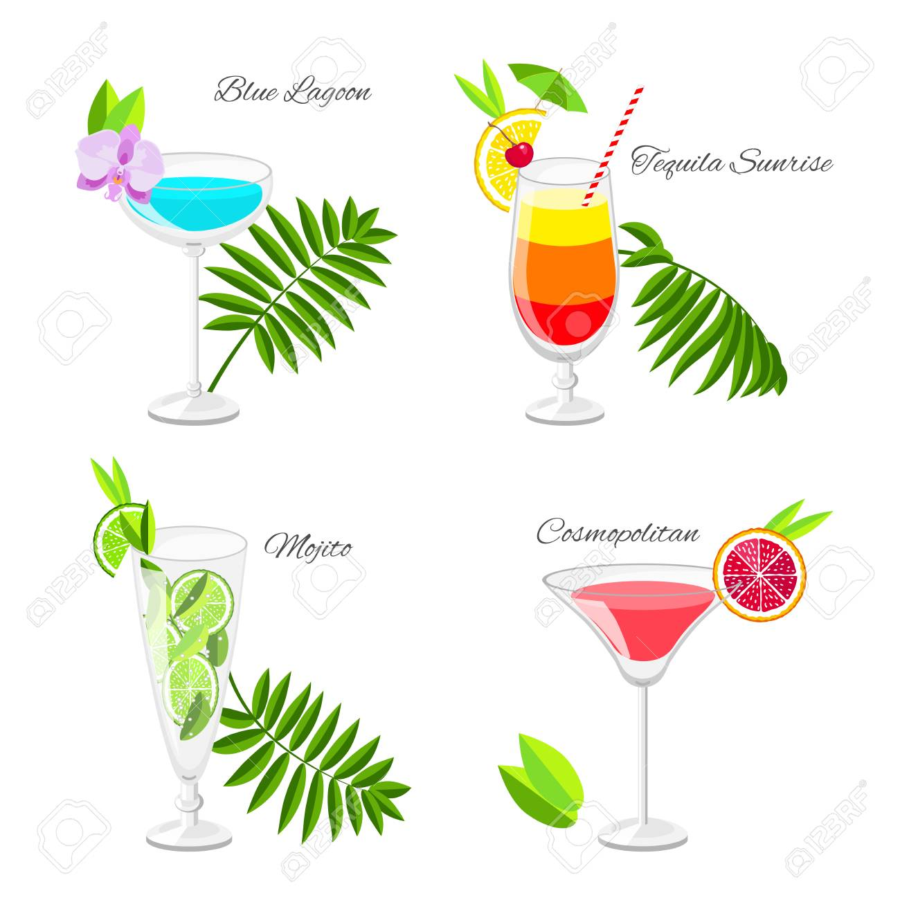 Interior Design For Beliebte Cocktails Photo Of Satz Von Beliebten Mit Früchten Scheiben Und