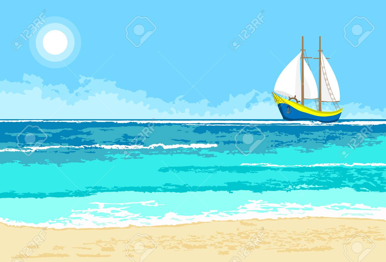 Summer Sea View With Cartoon Sailboat. Seaside Background For ...