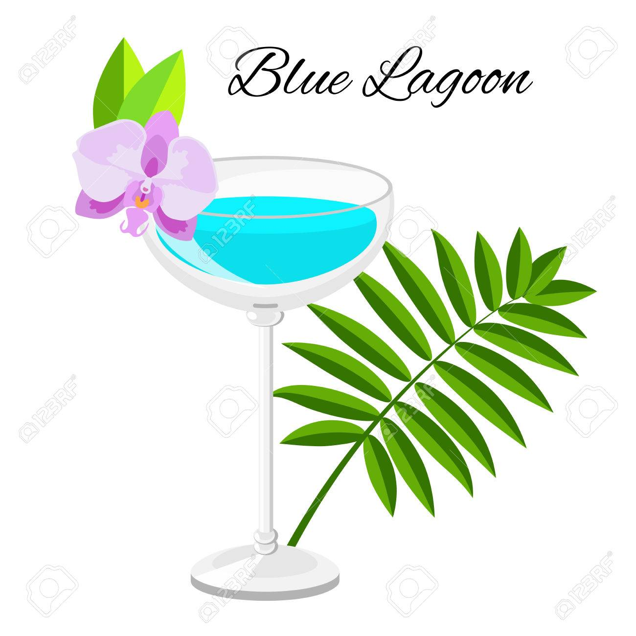 Blue Lagoon Cocktail Cartoon Style Summer Long Drink Isolated Stock Photo Picture And Royalty Free Image Image 81761279