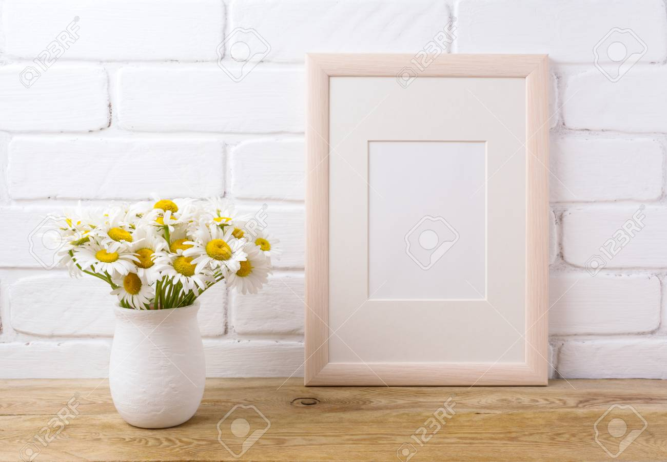 Wooden Frame Mockup With White Field Chamomile Bouquet In Handmade ...