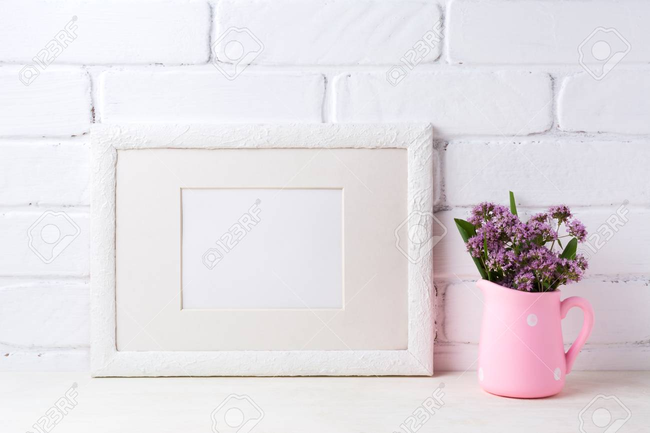 White Landscape Picture Frame With Mat Mockup With Purple Field Stock Photo Picture And Royalty Free Image Image 83996248