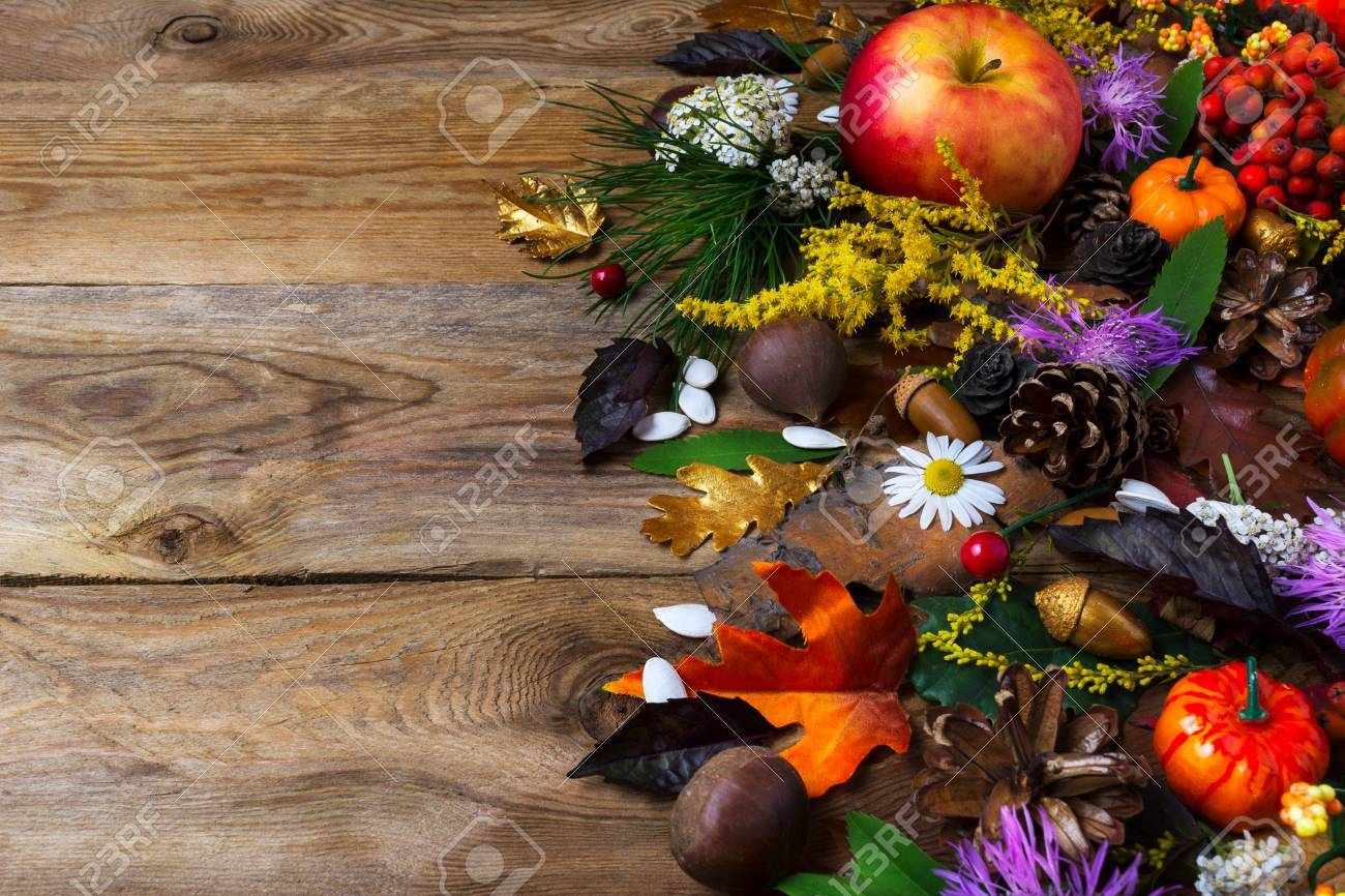 Fall Background With Pumpkin Apples Autumn Leaves And Cones
